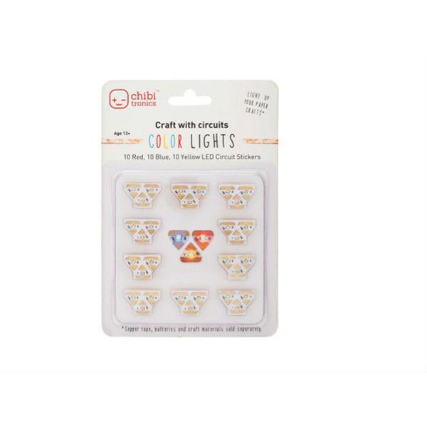 【chibitronics/チビトロニクス】 LEDステッカー-COLOR LIGHTS(レッド、イエロー、ブルー)